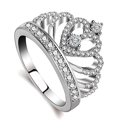 Presentski — Anel de coroa feminino princesa rainha banhado a ouro 18 K tiara anel pequeno CZ presente menina anel de compromisso 10 Prata