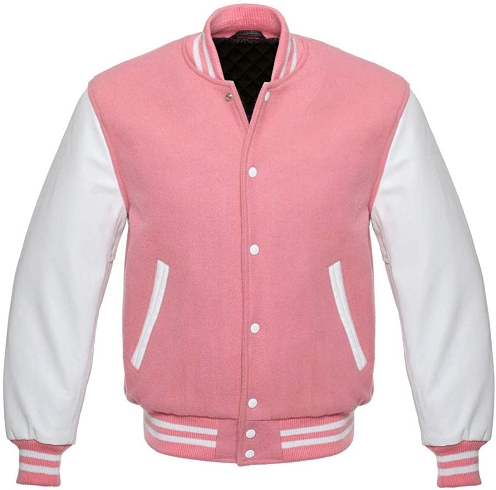 Varsity Letterman Baseball Bomber Retro Vintage Jacket Pink Wool White Genuine Leather Sleeves