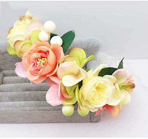 ZGP Couronne de Coiffure Couronne de Fleurs, Bandeau Fleur Garland Fête de Mariée à la Main à la Main Fait Bande Bandeau Bracelet Bande de Cheveux (Couleur : A)