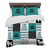 zbigtee Affenpinscher Shape Pattern QBS Comfy Funny Bed Quilt Bed Set Bedding Set Dog Animal (Teal - Blue, Queen (79' x 91'))
