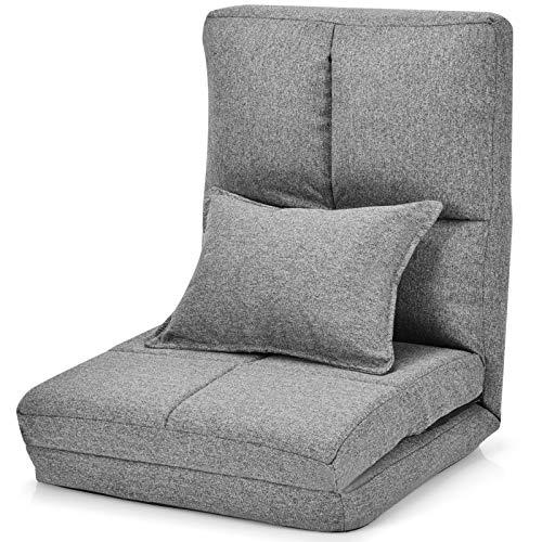 GOPLUS Bodenstuhl mit 1 Kissen, Bodensofa mit Schlaffunktion, Bettsofa mit 5-Fach Verstellbarer Rückenlehne, als Sofa/Liege/Bett, Klappbar, für Wohnzimmer Schlafzimmer (Grau)