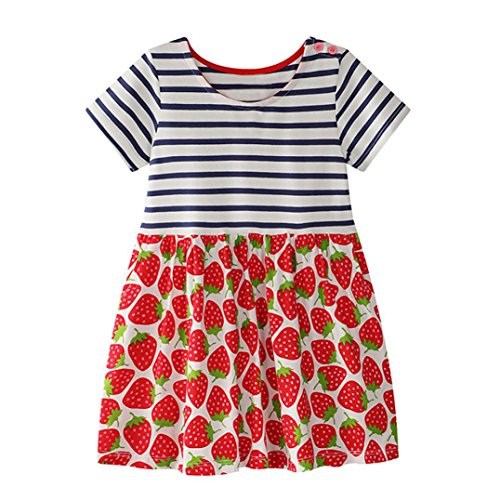 Trada Kleinkind Baby Kind Mädchen Blumenmuster Kleid Sommerkleid Outfit Kleidung Sommer Süße Erdbeeren Stickerei Muster Denim Kleid Prinzessin(2-7Jahre (80, Rot)
