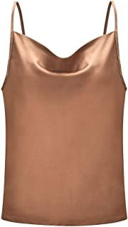 Tank Tops for Women Summer V Neck, Wobuoke Women's Casual Spaghetti Strap Button Front Tie Front Sleeveless Blouses