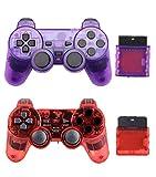 Gollec - Controller wireless compatibile per PS2, con Double Shock