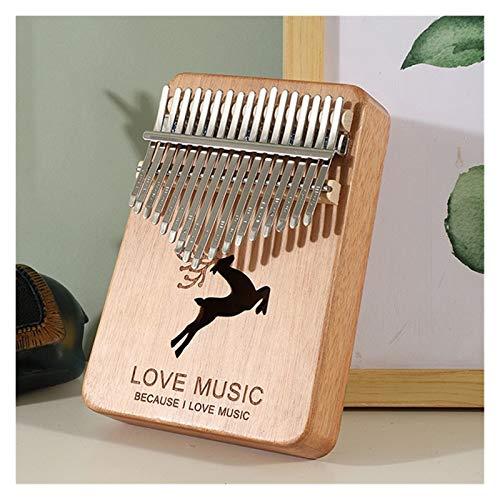 TZZD Kalimba Daumenklavier mit 17 Tasten, Handschutz, Holz, Mahagoni-Körper, Musikinstrumente, Kalimba Klavier kreative Spieluhr (Farbe: Hirsch Khaki)