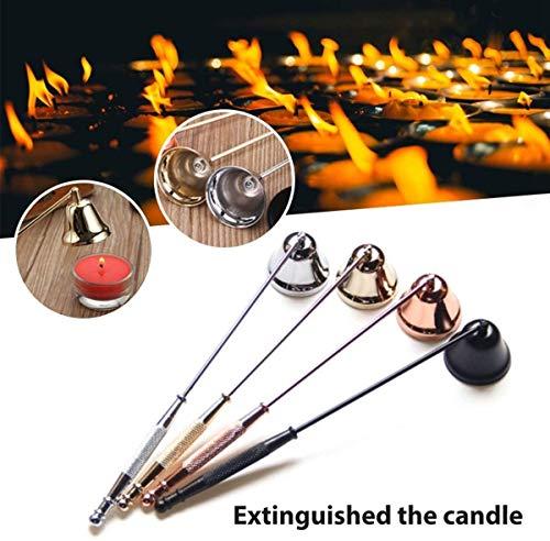 Family in Kerzenlöscher,Edelstahl Glockenform Candle Snuffer Wick Trimmer Abdeckung Handwerkzeug, Candle Snuffer Mit Langem Griff, Kerzenhalter Zubehör (Gold)