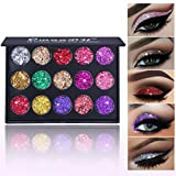 GL-Turelifes Glazed 15 Colors Chunky Glitter Eyeshadow Palette Mineral Pressed Glitter Long Lasting, Waterproof Eye Shadow Sparkly Eyes Make up Palette for Dance, Party, Festival (#02)