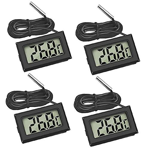 Termómetro digital LCD Termómetro del acuario Frigorífico Humedad Medidor de temperatura de la sonda 4PCS