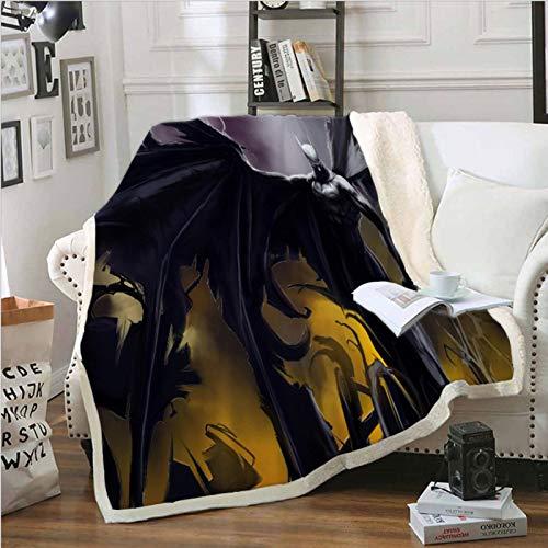 qazxsw Maternelle climatisation Couverture Bureau Sieste Couverture Batman Portable Dessin animé Parc d'anime Pique-Nique Enfants