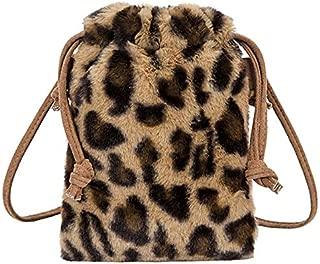 Docooler Fashion Women Leopard Print Crossbody Pack Faux Suede Ruched Girls School Students Shoulder Pack Handbag
