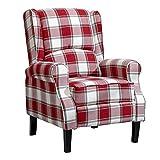 NMDD Möbel Wohnzimmer Bequemer Liegesessel Rot Karierter Stoff Gepolsterte Ohrensessel mit Armlehnen für Wohnzimmer Schlafzimmer Heimspiel (Red Tartan)