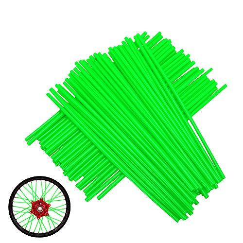 YSMOTO - Set di 72 protezioni in plastica per raggi ruota moto Kawasaki KX250 KX500 KXF250 KX450F KLX KX KXF 125 250 450 moto Dirt Bike – verde