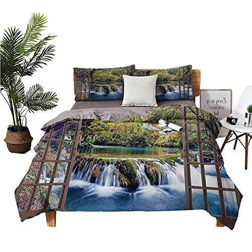 4pcs Bedding Set Bed Sheets Queen Cotton Winter Bed Sheets Wide Waterfall Deep Down in The Forest Seen from A City Window Epic Surreal Print Multicolor Printed Quilt Cover W68 xL90