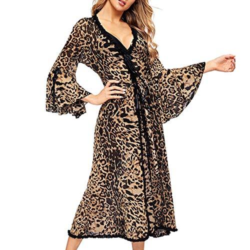 MNHJG Albornoz,Albornoz de Mujer Leopard Kimono Invierno Otoño Ropa de Dormir Informal Elegante Bata de baño SPA, Leopard, L