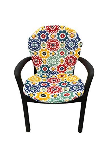 TIENDA EURASIA® Asiento Acolchado para Sillas de Terraza - 6 Estampados Modernos - 50 x 90 cm - Ideal para Decorar la Terraza y Jardín (Mosaico Colores)