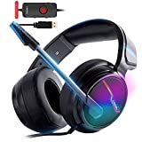 Xiberia-V20 - Cuffie USB PS4 per connessione host, 7.1 Surround Sound PC Gaming Headset co...