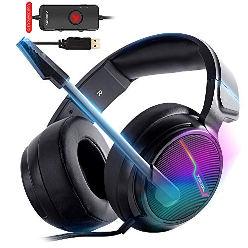 Xiberia-V20 - Cuffie USB PS4 per connessione host, 7.1 Surround Sound PC Gaming Headset con cavo da 1,95 metri e microfono con cancellazione del rumore per laptop, computer, Mac e Macbook con luce RGB