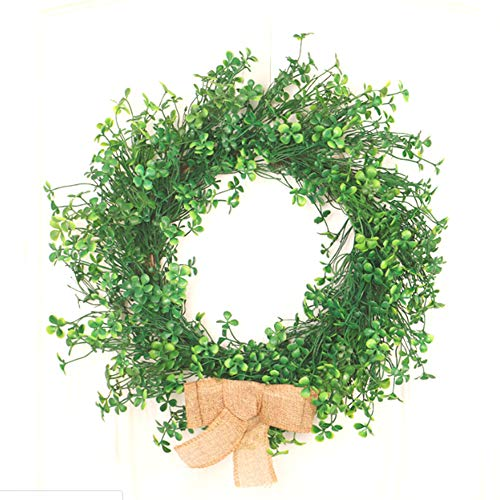 æ— Artificial Eucalyptus Wreath, Faux Boxwood Wreath Artificial Green Leaves Wreath for Front Door Wall Window Hanging Decor