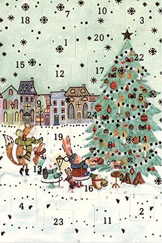 Adventskalender Grußkarten 5 Stück Nostalgie Weihnachten Goldprägung Kunstkarte Doppelkarte hochwertig Weihnachtskarte Advent Weihnachtsmann Geschenk Karte