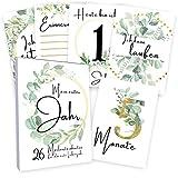 Meilensteinkarten Baby (26 Stück mit Box) Junge & Mädchen - Meilenstein Karten - Milestone Cards Geschenk zur Geburt - Geschenke Schwangerschaft & Babyparty - Fotokarten Babykarten - Eucalyptus