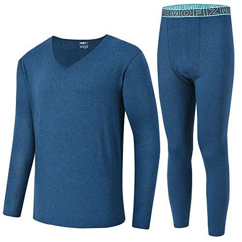 MoFiz Men's Thermal Underwear Set Long Sleeve Top & Long Johns Bottoms with Fleece Lined