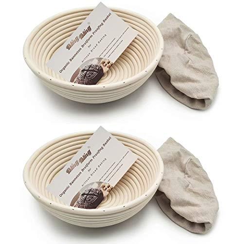 Cesto pan redondo 21,6 cm Cesto fermentador Banneton con forro de lino (2 unidades)