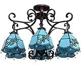Tiffany - Lámpara de araña azul mediterráneo, 6 luces, multicolor de cristal, decoración de techo, lámpara colgante para dormitorio o salón
