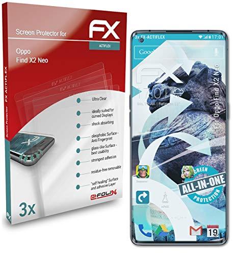 atFolix Schutzfolie kompatibel mit Oppo Find X2 Neo Folie, ultraklare & Flexible FX Bildschirmschutzfolie (3X)