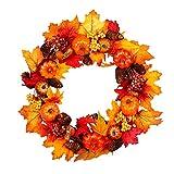 Corona decorativa para colgar en la pared de la puerta frontal de Halloween, decoración del hogar, con calabazas, hojas de arce, bayas y conos de pino (45 cm)