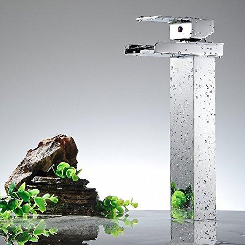 auswind cascada grifo sola manija 1/2-inch latón boquilla grifo de baño contemporáneo estilo Hotel cuadrado