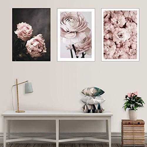 MMLFY 3 aufeinanderfolgende Gemälde 30x40cm3pcs Blumen Leinwand Gemälde Romantische Moderne Rosa Rose Poster Drucken Wandkunst Bild für Schlafzimmer Wohnkultur