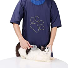 ROZKITCHPet Grooming Smock Waterproof and Hair Repellent Apron Anti-Static Pet Dog Cat Grooming Apron Apparel Professional Smock with Pockets