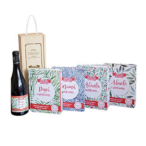 CALLE DEL REGALO Pack 'Cuéntame…' abuelo, mamá, papá, abuela con libro y botella de vino en caja de madera