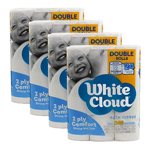White Cloud 2 Ply Hypoallergenic Strong and Soft Toilet Paper 48 Double Rolls= 96 Regular Rolls, 242 2-ply Sheets Per Roll