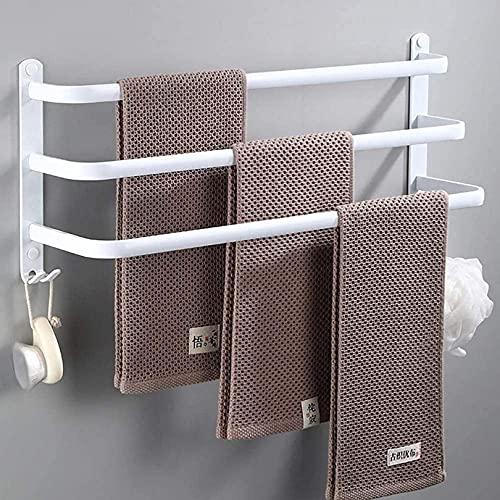WWJ Toalleros de Pared con Ganchos Toallero de Aluminio para baño y bañera Toallero de una Capa/Dos Capas/Tres Capas Ahorro de Espacio/Secado rápido 40cm