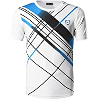 jeansian Hombre Camisetas Deportivas Wicking Quick Dry tee T-Shirt Sport Tops LSL133 White S