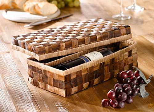Geschenk-Verpackung für 2 Weinflaschen aus Bananenblatt, Box mit Deckel, Geschenkbox, Flaschenbox, Weinflaschenbox