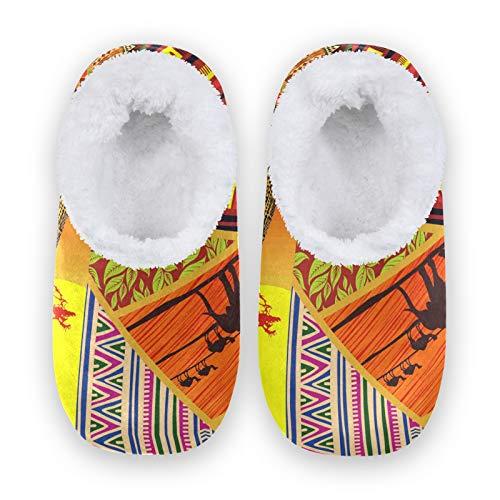 TropicalLife JNlover - Pantuflas de forro polar para mujer, diseño étnico, africano, elefante, para interiores y exteriores, color, talla X-Large
