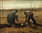 Van Gogh - Campesinos Que Plantan Las Patatas Reproducción Cuadro sobre Lienzo Enrollado 65X50 cm - Figura Pinturas Impresións Decoración Muro