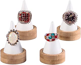 4PCS Bamboo Finger Cone Ring Stand, Single Finger Display Ring Holder Jewelry Organizer (White pu)