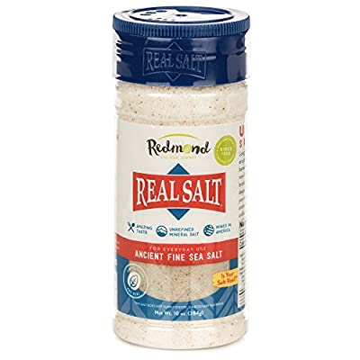 Redmond Real Sea Salt - Natural Unrefined Organic Gluten Free Fine, 10 Ounce Shaker