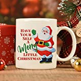 Tazza da caffè con scritta 'Have Yourself a Merry Little Christmas', con Babbo Natale, in ceramica, 325 ml