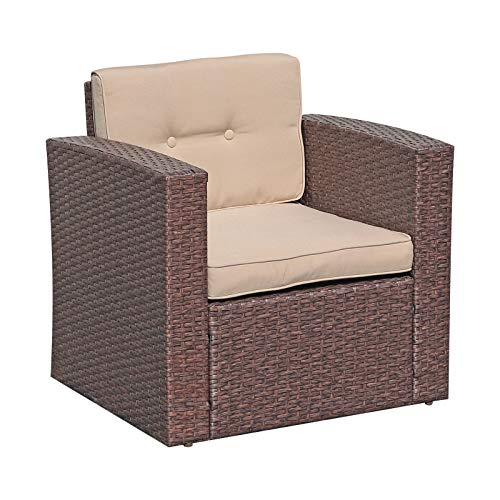 Super Patio Outdoor Wicker Armchair Single Sofa Chair, PE Rattan Chair Seating Patio Furniture with Beige Cushion, Additional Seats for Sectional Sofa, Porch, Garden, Backyard, Pool, Espresso Brown