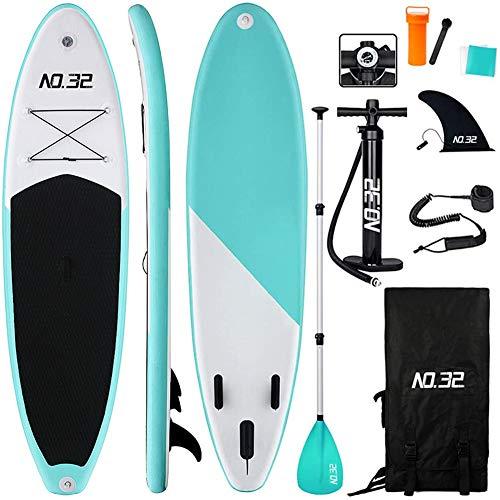 Aufblasbares SUP Board für Stand Up Paddle Board (15cm Dick) | Surfbrett Sets mit Hochdruck-Pumpe + Verstellbare Paddel + Wind Segel + 3 Finnen + Füße TPU Paddle Leash + Rucksack & Reparaturset (Grün)