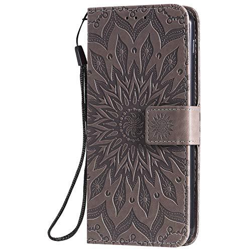 KKEIKO Hülle für LG G8S ThinQ, PU Leder Brieftasche Schutzhülle Klapphülle, Sun Blumen Design Stoßfest Handyhülle für LG G8S ThinQ - Grau