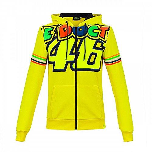 Valentino Rossi Vrmfl305301003 trui met capuchon met ritssluiting, Vr46 heren, geel, S 100 cm/39In Chest