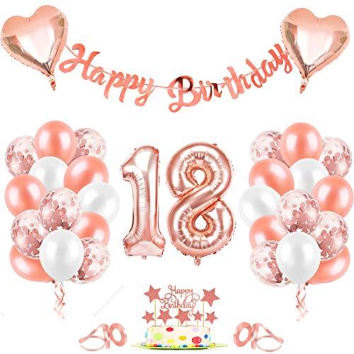 18er Cumpleaños Globos, Decoración de cumpleaños 18 en Oro Rosa, Cumpleaños 18 Año Globos Niñas, Feliz Cumpleaños Decoración Globos 18 Años, Globos de Confeti y Globos de Aluminio para niñas y Mujeres