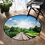 Nature Printed Carpet Old Wooden Vintage Wooden Deck on Silent River in Sunny