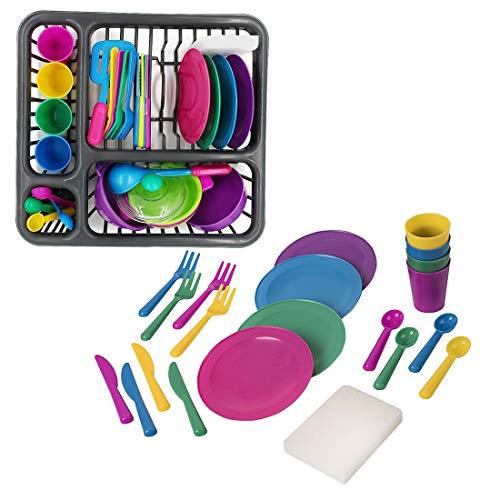Seciie 21er Set Geschirrset Kinderküche, Küchenspielzeug für Kinder, Küchenspielzeug Geschirr Küchen Spielzeugsets Rollenspiele für Kinder