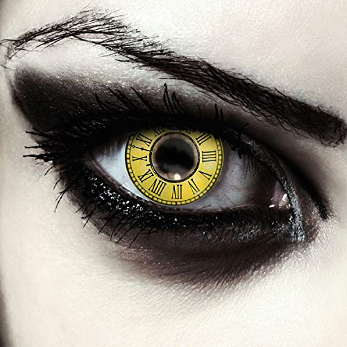 "Designlenses, Dos lentillas de colores amarillas con patrón de relojes para cosplay""Date a live, Timekeeper"" disfraz, lentes de tres meses sin dioprtías/corregir + gratis caso de lente ""Kurumi"""